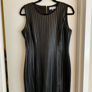 Calvin Klein Faux Leather Stripped Dress